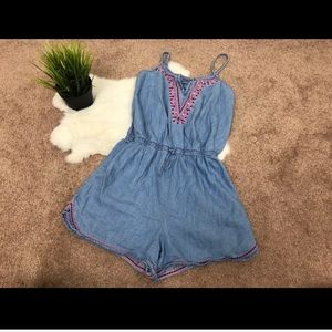 Justice Girl Romper Blue Embroidered Sz 12